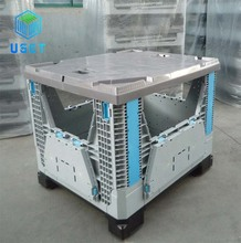 Large Folding Plastic Pallet Box Bin For Fruit And Vegetables Plastic Pallet Box With Lid