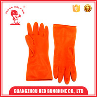 Orange Pure Latex Dish Washing Household Rubber Gloves