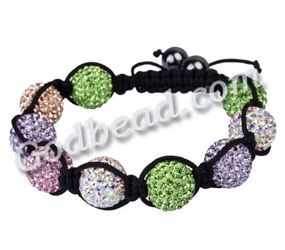 G81 Multicolored Hot Sell fashion Shamballa Magnetite Ball Beads crystal pave ball bead Crystal Bracelet best gift for christmas