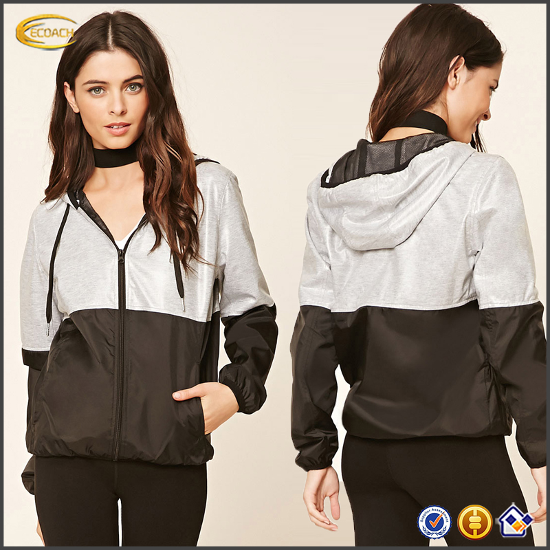 2017 directly factory new style long sleeve custom logo Heathered-Panel running sports jacket for women
