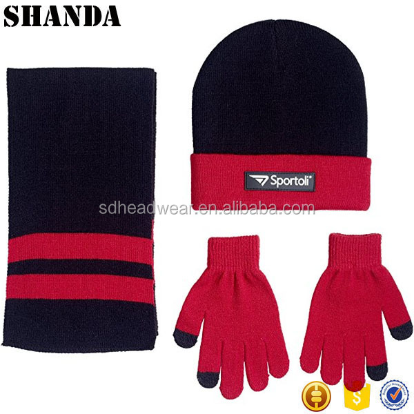 Winter factory made striped red knit custom scarf beanie and glove sets