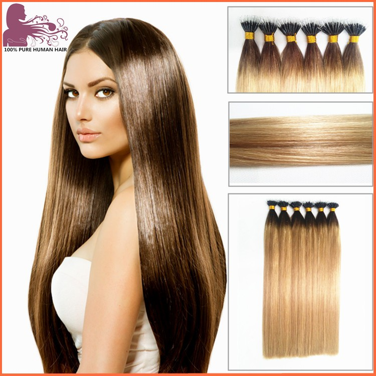 hair factory OEM high quality double drawn 100% human hair wholesale nano ring hair extensions