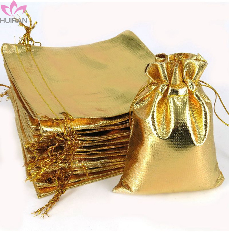 Wedding Decoration Gifts Craft Candy Packaging Bags Silver Golden Metallic Foil Cloth Organza Pouches