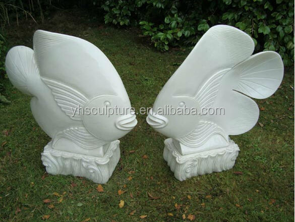resin marble white fish sculpture