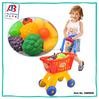 Hot Sell Cheap Toys Plastic Food Set Kids Shopping Cart