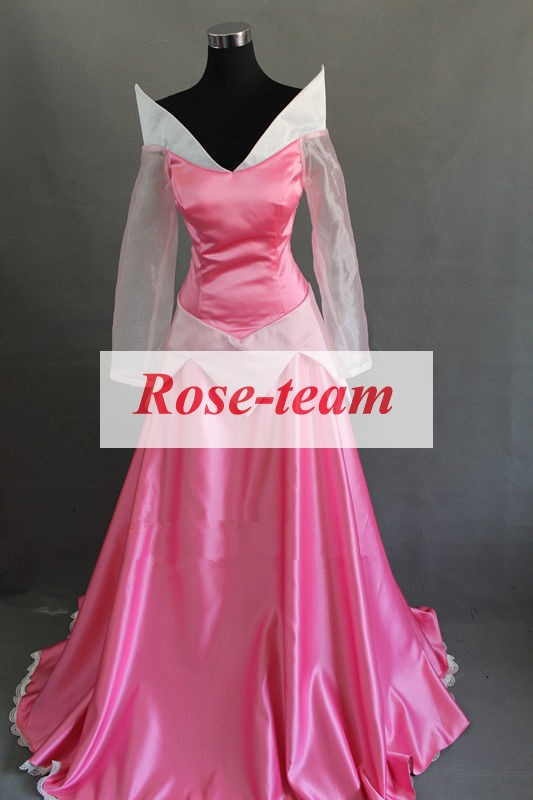 Fantasia Anime Lolita-Top Quality Sleeping Beauty Aurora Princess Pink Dress Made Cosplay Costume Cheap Costumes C0610