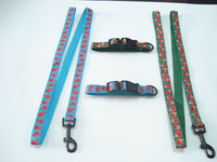 Pet collar & leash dog lead strap adjustable fabric webbing