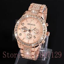 Diamond Geneva Watches Women Stainless Steel Quartz Watch Military Crystal Gold Watches relogio feminino montre femme
