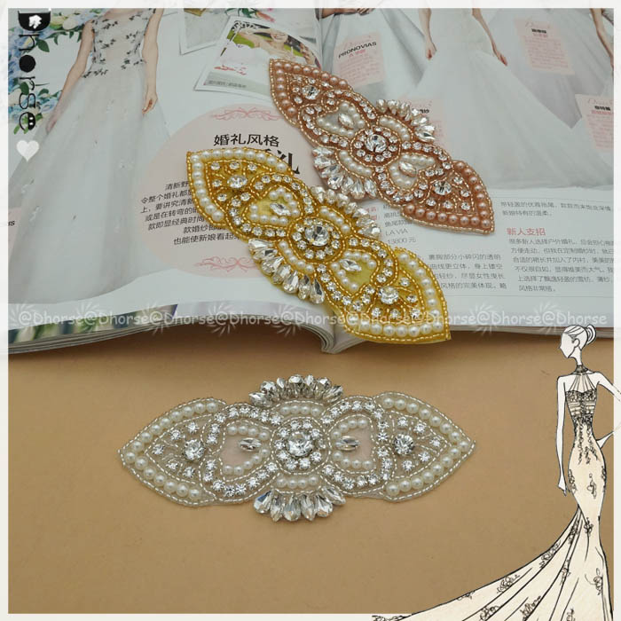 Rose Gold /Gold /Silver beads Pearl Crystal rhinestone Bridal Belt Sash Wedding Accessories applique