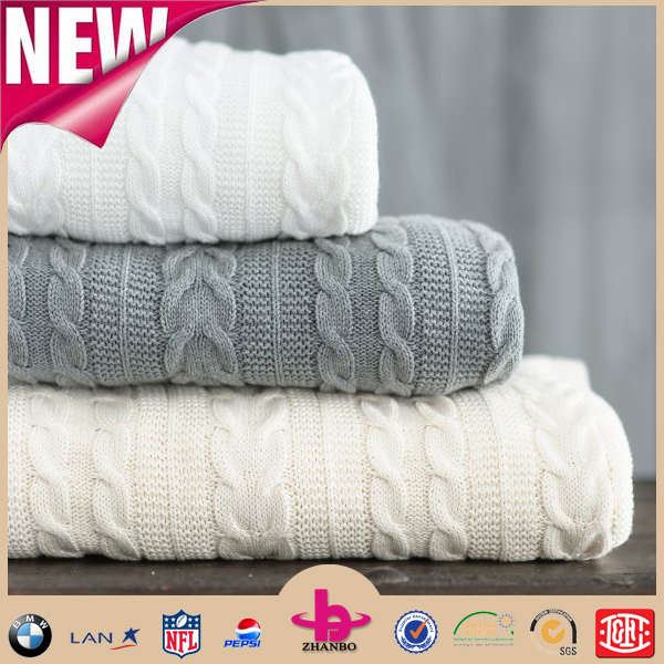 Factory Directly Fashion design one ply soft touch 100% Cotton knitted patterns Cable knit blanket/Blankets And Throws To Knit
