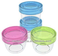 2 PCS FUCHSIA, TURQUOISE, LIME GREEN, ORANGE 0.2L ROUND PP PLASTIC FOOD CONTAINER