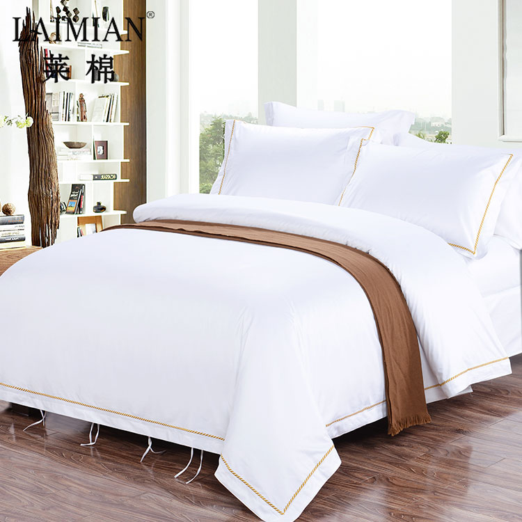 Professional bedding set hotel linen white hand stitch bed sheet with embroidery border
