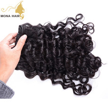 Mona hair latest water wave hair textension double weft tangle free thick end soft italian hair
