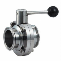 sanitary ss304 316 clamped manual external screw thread type butterfly valve