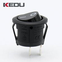 KEDU HY64 2 pin on off t85 black red color round rocker switch