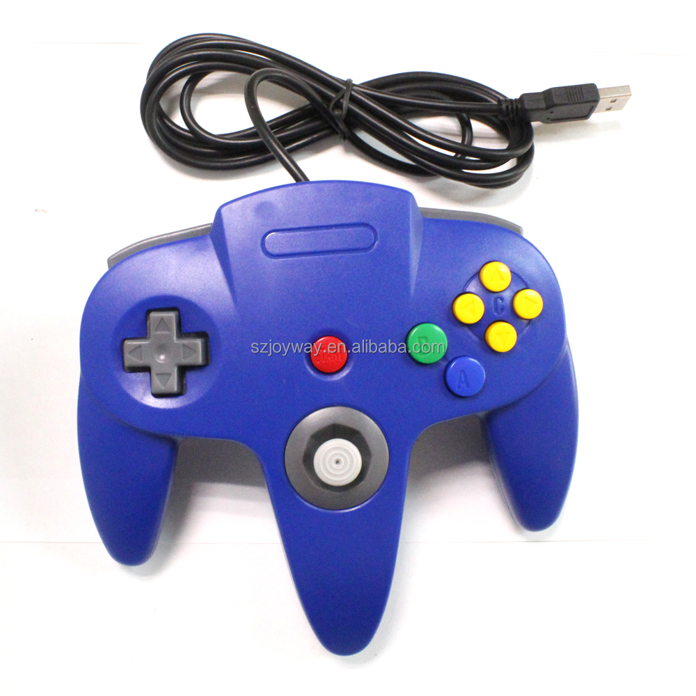 Wired USB PC Game pad Joystick, N64 Bit USB Wired Game stick Joy pad Controller for Windows PC MAC Linux Raspberry Pi 3 blue
