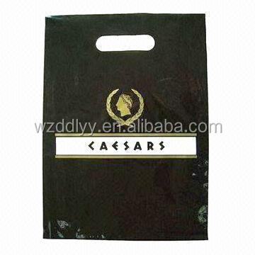 Retail plastic bag with reinforced handle, full color printing, available in various sizes and color