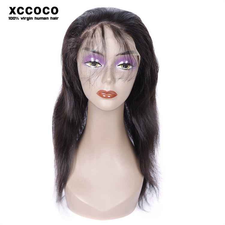 wholesale price lists 100% human hair 360 lace frontal wig cap, straight shoulder length hair style