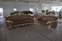 luxury antique wooden sofa furniture, golden finished carved wood sofa