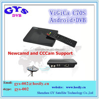New cccam android DVB-S2 vigica c70 hd receiver Android tv box dvb s2 support CCcam/Newcam