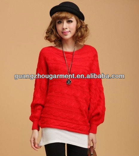 hand made ,newest design knitted pure color women knitwear sweater 2013