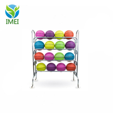 "4 Tier Ball Cart - 53"" Steel Sports Ball Rack with Caster Wheels Holds 16 Basketballs by Crown Sporting Goods"