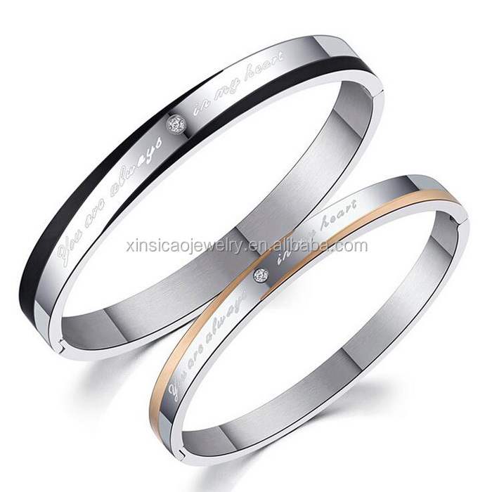 Stainless Steel Couples Wedding Engagement Bracelet Bangle His& Her Matching Set Valentine Romantic Gift