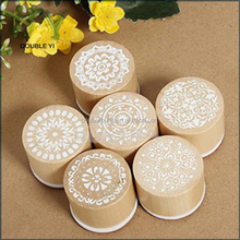 Customize Flower Pattern Round Wood & Rubber Seal Stamper Signeter custom wooden stamp