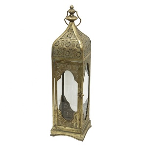Golden Leaf Vintage Moroccan Metal Lantern Candle Holder