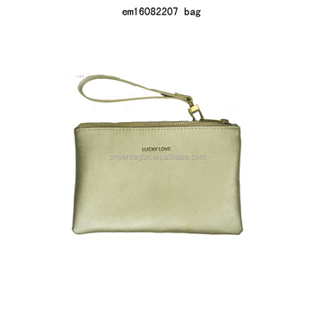 2016 new women handbag golden PU clutch bag mobile phone bag