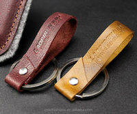 high quality embossed logo genuine leather key chain for print