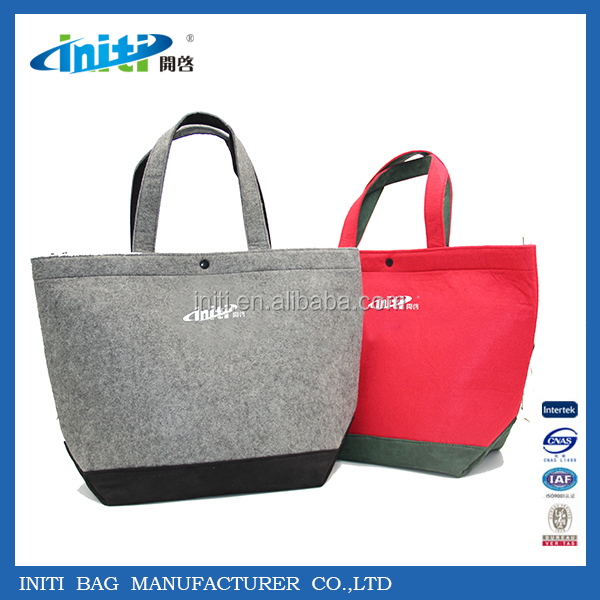 2017 New Fashion Eco-friendly Wool Felt Tote Bag With Handle Strap for Shopping