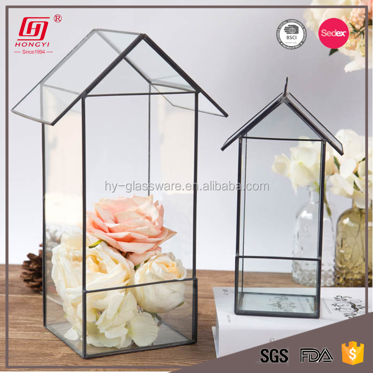 Home Perfect Geometric Glass Terrarium With Black Gold Metal Frame