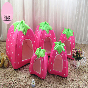 New Pet Supplies High Quality Dog House Soft Strawberry Cat Rabbit Bed House Kennel Doggy Warm Cushion Basket for Puppy Home