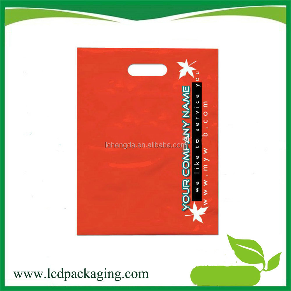 Fashion plastic ldpe die cut handle shopping bag for packing