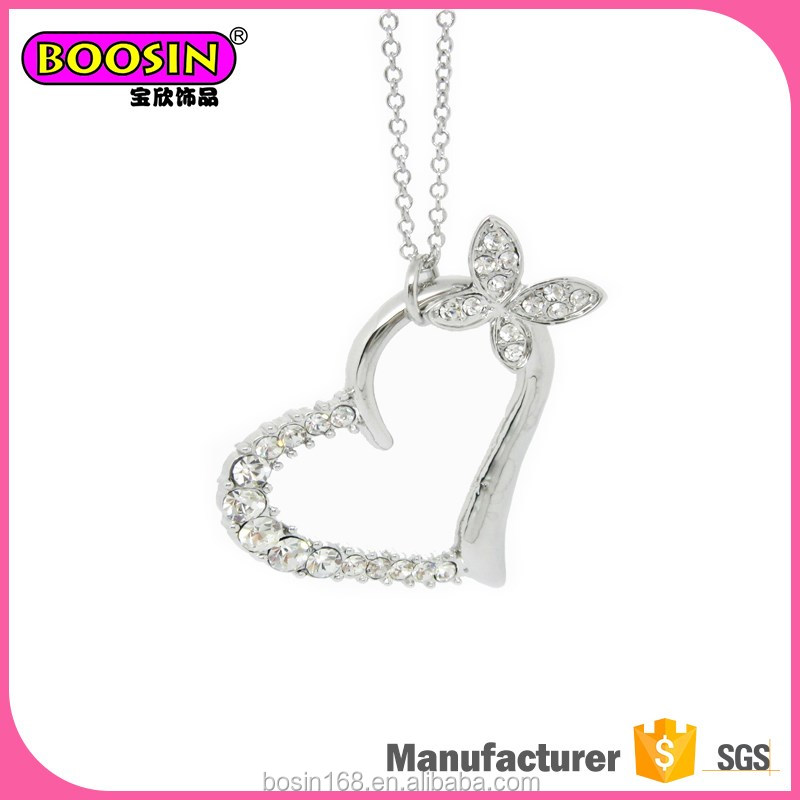 China supplier crystal alloy necklace heart jewelry