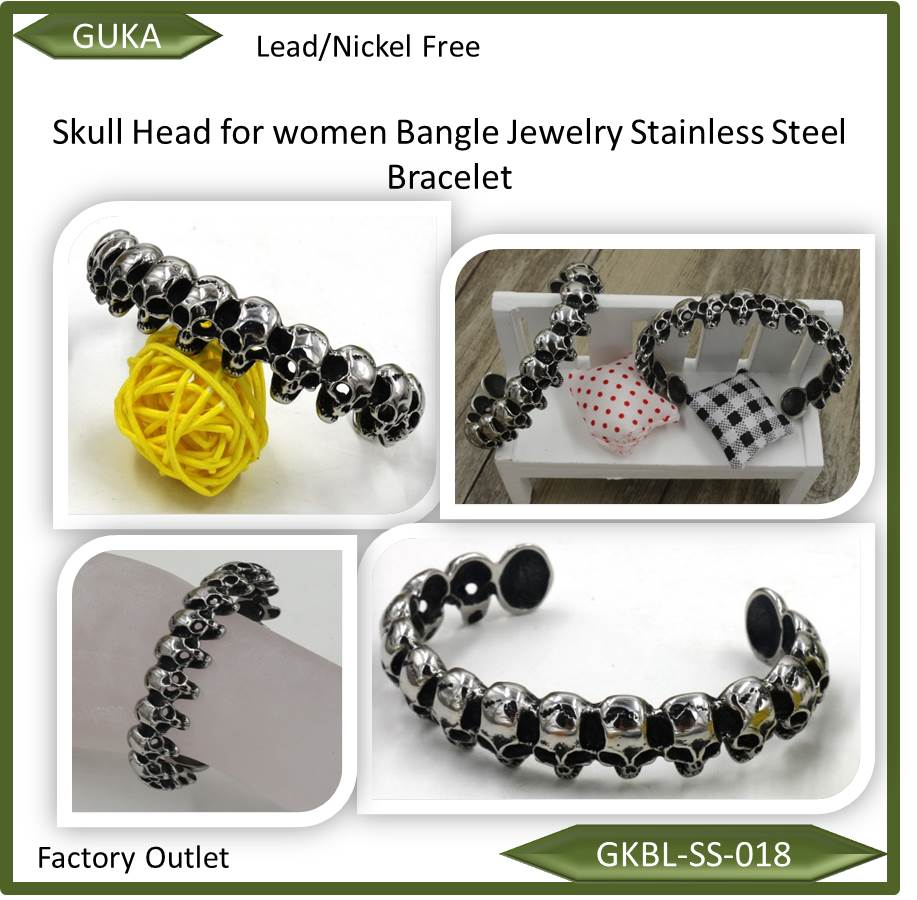 Skull Head for women kids Bangle Jewelry Stainless Steel Bracelet