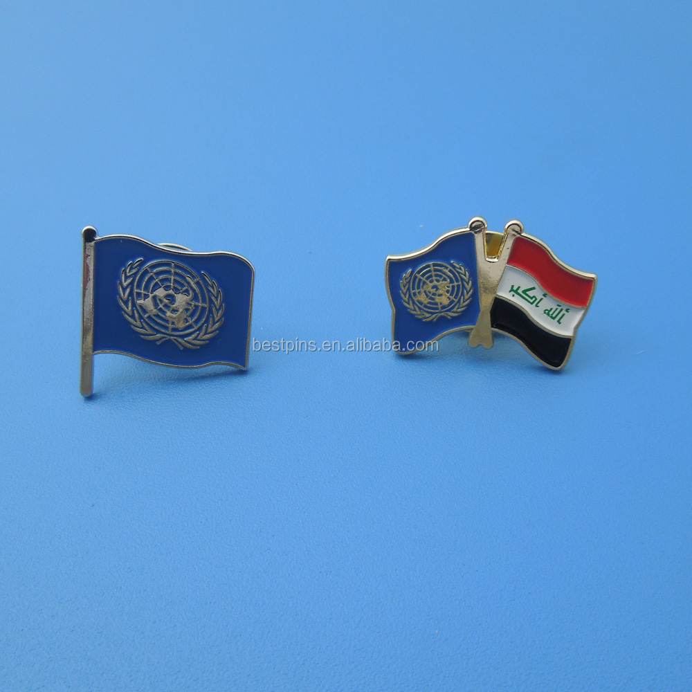 The United Nations and Iraq double contries flag badges friendship pin badge