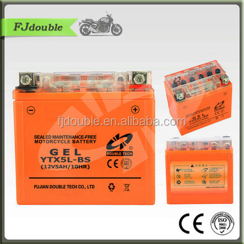 motorcycle 12v 5ah dry charged lead acid battery