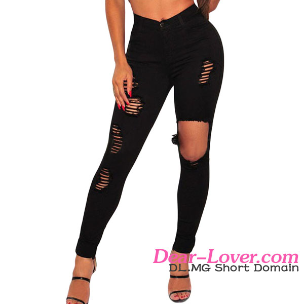 Cheap Wholesale Online Shopping Black Women Ripped Skinny Jeans
