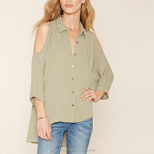 new design plus size lady clothing plain blouse short front long back design open shoulder blouse