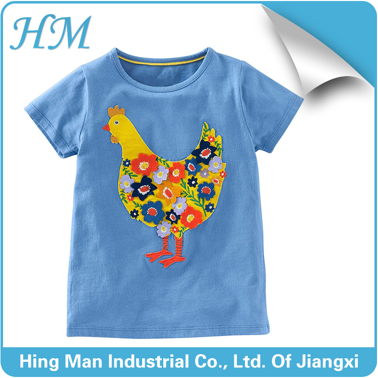 Factory sale chicken printing t shirt for boys short sleeve blue t shirt wholesale