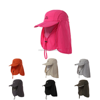 Red Outdoor Jungle Fishing 360 Degree UV Protection Sun Block Hat Nylon Mesh Bucket Flap Hats