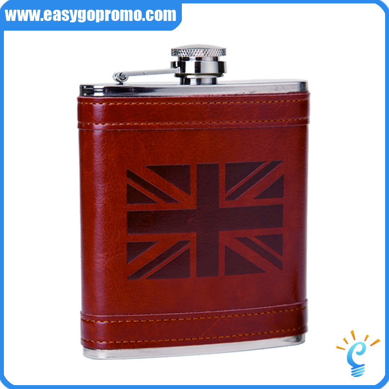 Promotional 6oz high grade original leather hip flask /whiskey carry can for Amazon