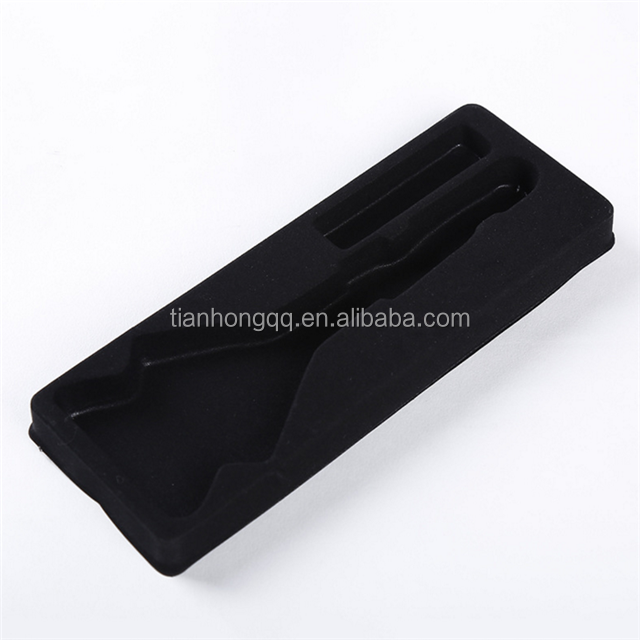 PS flocked thermoformed plastic tray for cosmetic custom vacuum formed PS flocking blister insert tray for gift