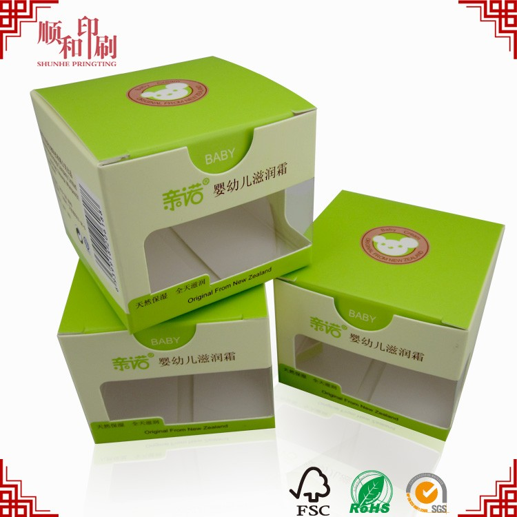 Custom color baby skin care products packaging box printing