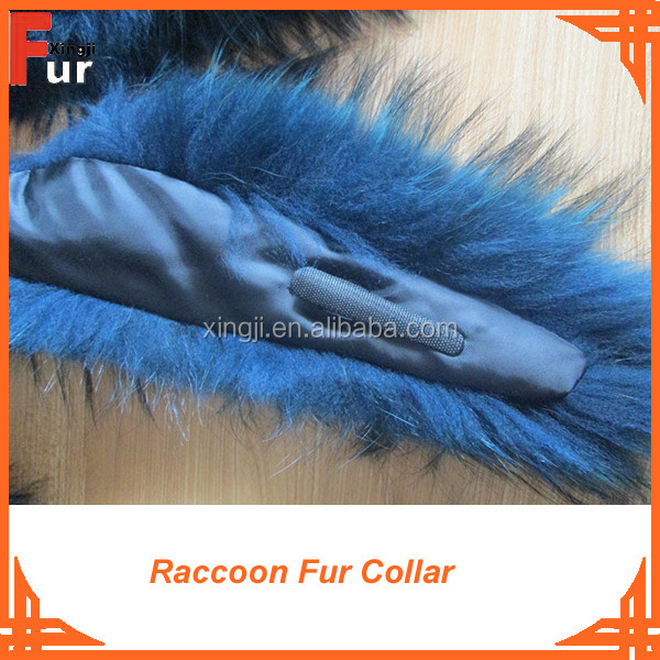 100% real fur black Raccoon Fur Collar
