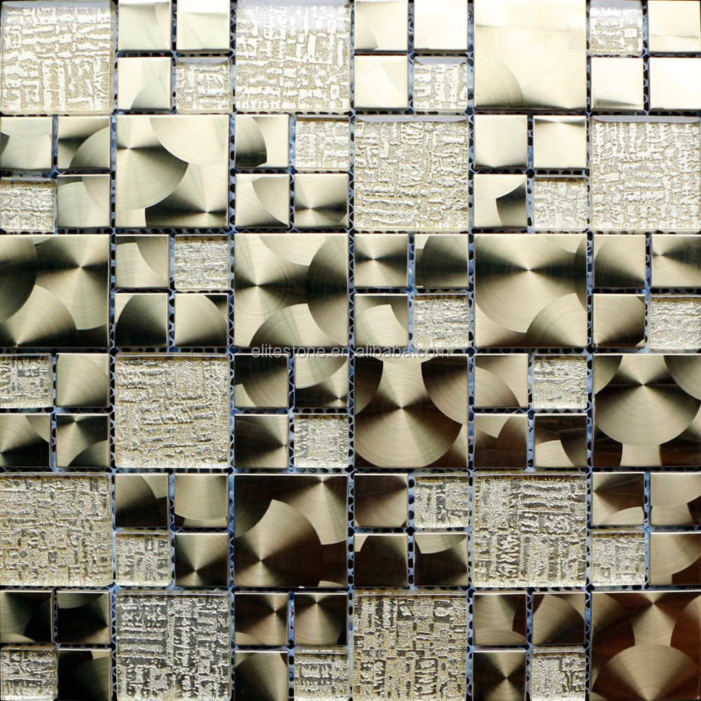 New Preminum Copper Resin Glass Decorative Metal Stainless Steel Backsplash Tiles Mosaic