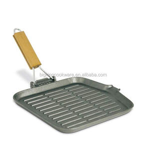 10.3 inch Square cast iron grill pan with wooden handle italian popular pan