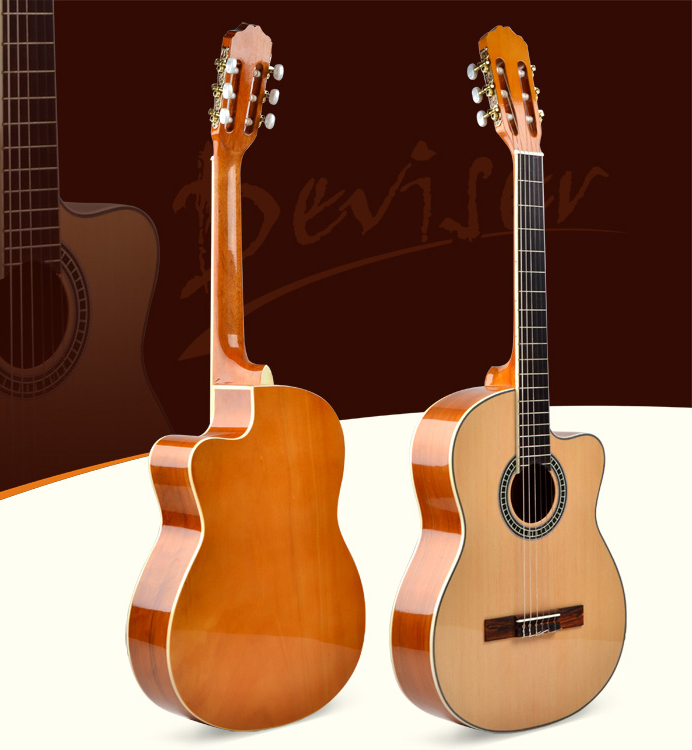 China guitar handmade good musical instrument high quality cutway classical guitar for sale